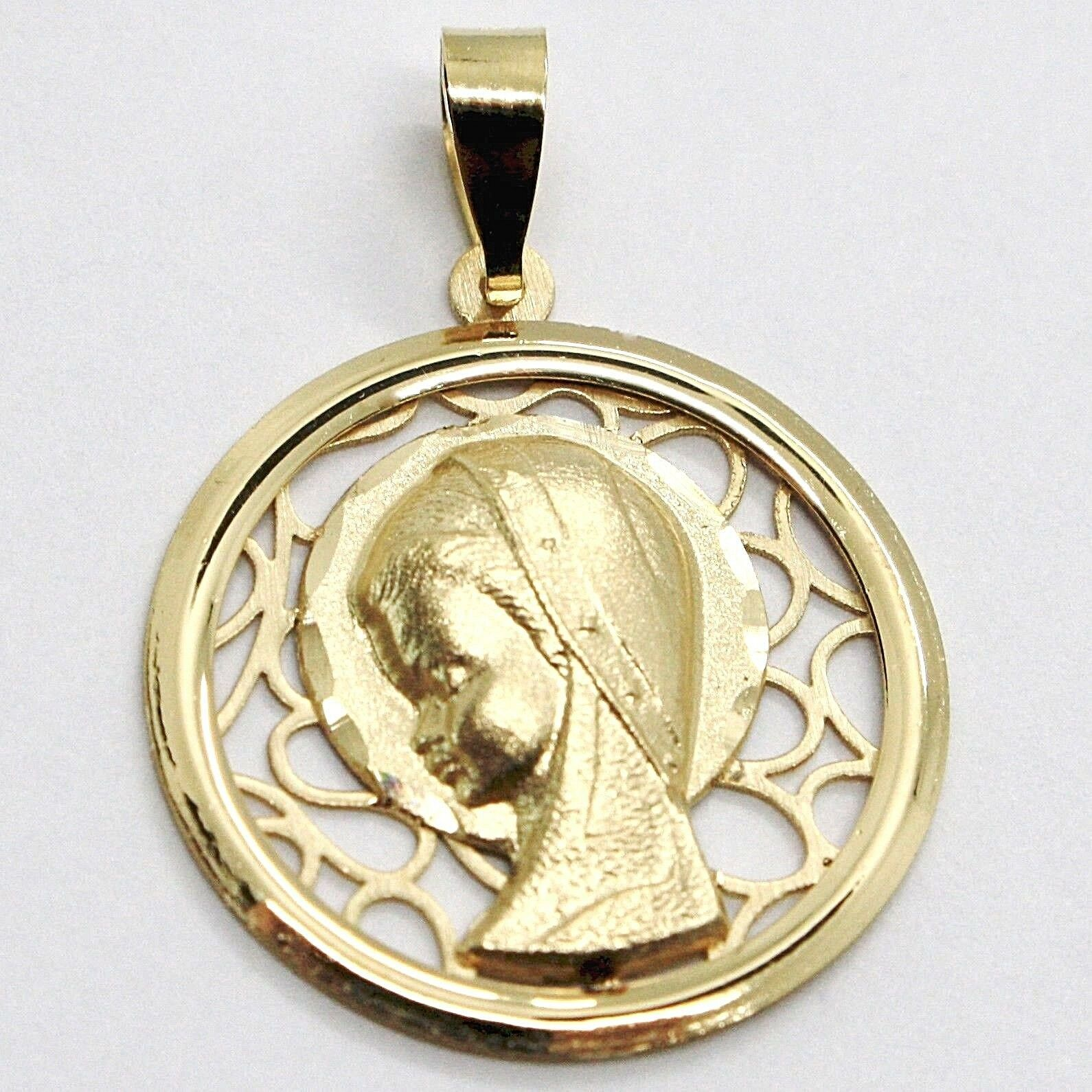 PENDANT MEDAL YELLOW GOLD 18K Virgo Mary jane, FINELY WORKED, WITH FRAME