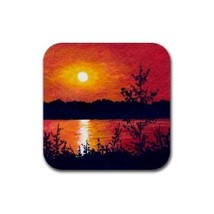 Rubber Coasters set of 4 art painting Landscape 409 - $13.99