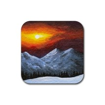 Rubber Coasters set of 4 from art painting Landscape 421 sunset - $13.99