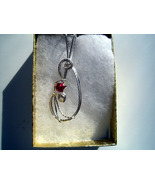 July Birthday Pendant Ruby Handcrafted  - $25.00
