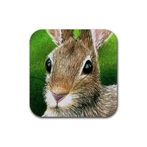 Rubber Coasters set of 4,  from painting Hare 12 rabbit - $13.99