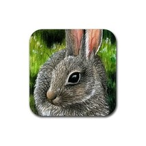 Rubber Coasters set of 4,  from painting Hare 13 rabbit - $13.99