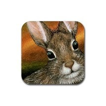 Rubber Coasters set of 4,  from painting Hare 15 rabbit - $13.99