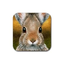 Rubber Coasters set of 4,  from painting Hare 18 rabbit - $13.99