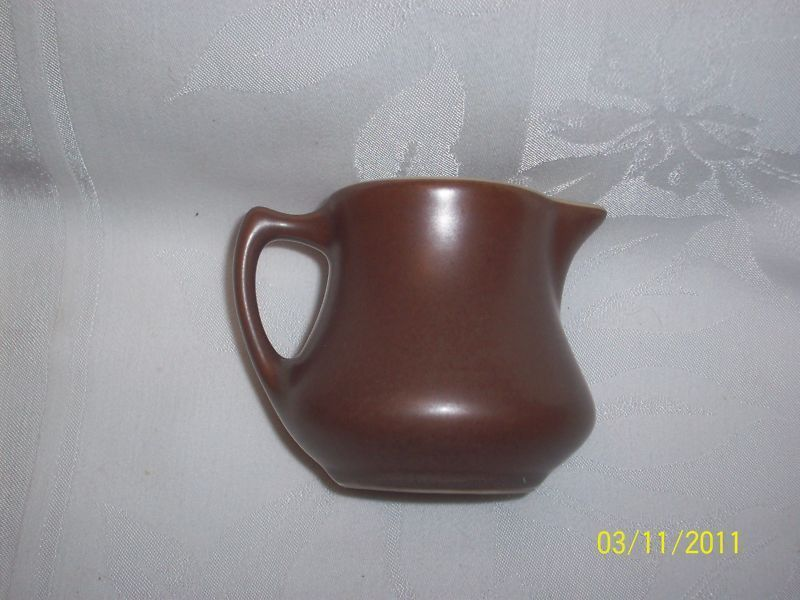 HALL EARTHEN BROWN CREAMER MIDCENTURY POTTERYGood vintage s