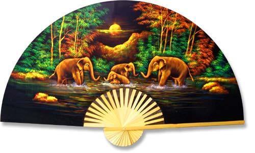 """40"""" width Velvet Elephants Velvet Painting Wall Fans"""
