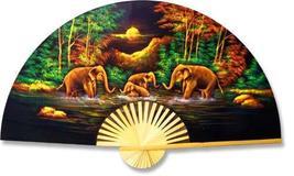 """40"""" width Velvet Elephants Velvet Painting Wall Fans - $32.95"""