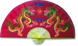 "40"" width Velvet Red Dragons Velvet Painting Wall Fans - $32.95"