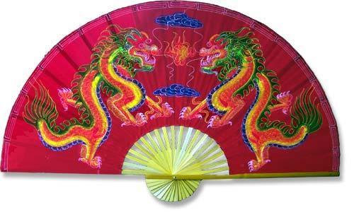 """60"""" width Velvet Red Dragons Velvet Painting Wall Fans"""