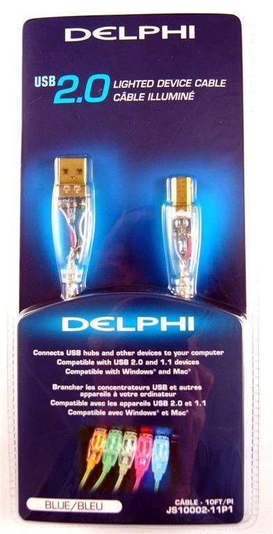 NEW DELPHI 10' USB 2.0 BLUE LED AB A-B A/B CABLE