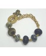 Bohemain Bracelet, Brass, Yellow Turquoise, Lava, Honeybee Dangle - $16.99