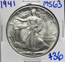 1941 Walking Liberty Half Dollar 90% Silver Coin Lot# A 606 - $33.28