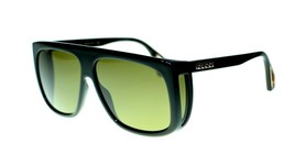 NEW Gucci GG0467S 001 Black Frame Green Lens Square Sunglasses Authentic - $280.33