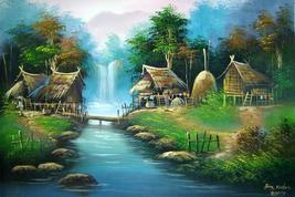 The Log Bridge Acrylic Landscape Paintings - $39.95