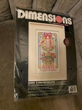 """Vintage Dimensions Stamped Cross Stitch Kit """"BELIEVE IN YOUR DREAMS""""  #3... - $14.84"""