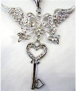 HEART WING KEY CHARM COMPATIBLE WITH DESIGNER NECKLACES - $26.00