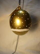 Vaillancourt Folk Art Santa on Gold Jingle Ball with Snowman image 2