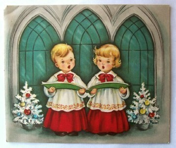 Primary image for Old Christmas Card: Blonde Haired Boy & Girl Carolers