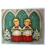 Old Christmas Card: Blonde Haired Boy & Girl Carolers - $2.50