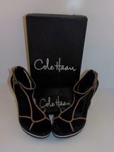 "Cole Haan~Black Satin Tan Leather~T-Strap Wedge~Size 8B~""AIR RICKI""~#D24315~EC - $42.88"