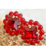 Vintage ruby red rhinestone earrings flower screw back thumbtall