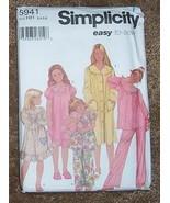 Simplicity 5941 Child's Pajamas and Nightgowns 3-6 - $1.85