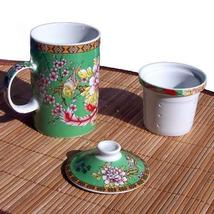 Flowers and Birds Mug - With Tea Strainer Asian... - $9.95