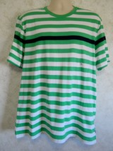 Men's Chaps Green White Black Stripe Tee Shirt Fashion Tee Size XL - $19.68