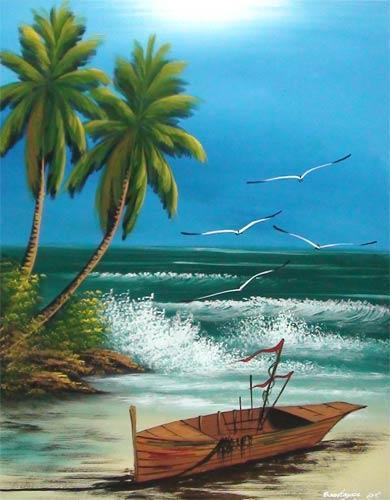 Beached Longtail Boat Oriental Paintings