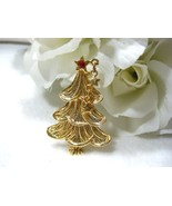 AAi Gold Tone Christmas Tree w/Dangling Stars Pin - $8.99