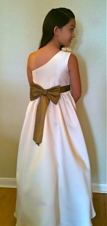 Flower girl dress with one shoulder