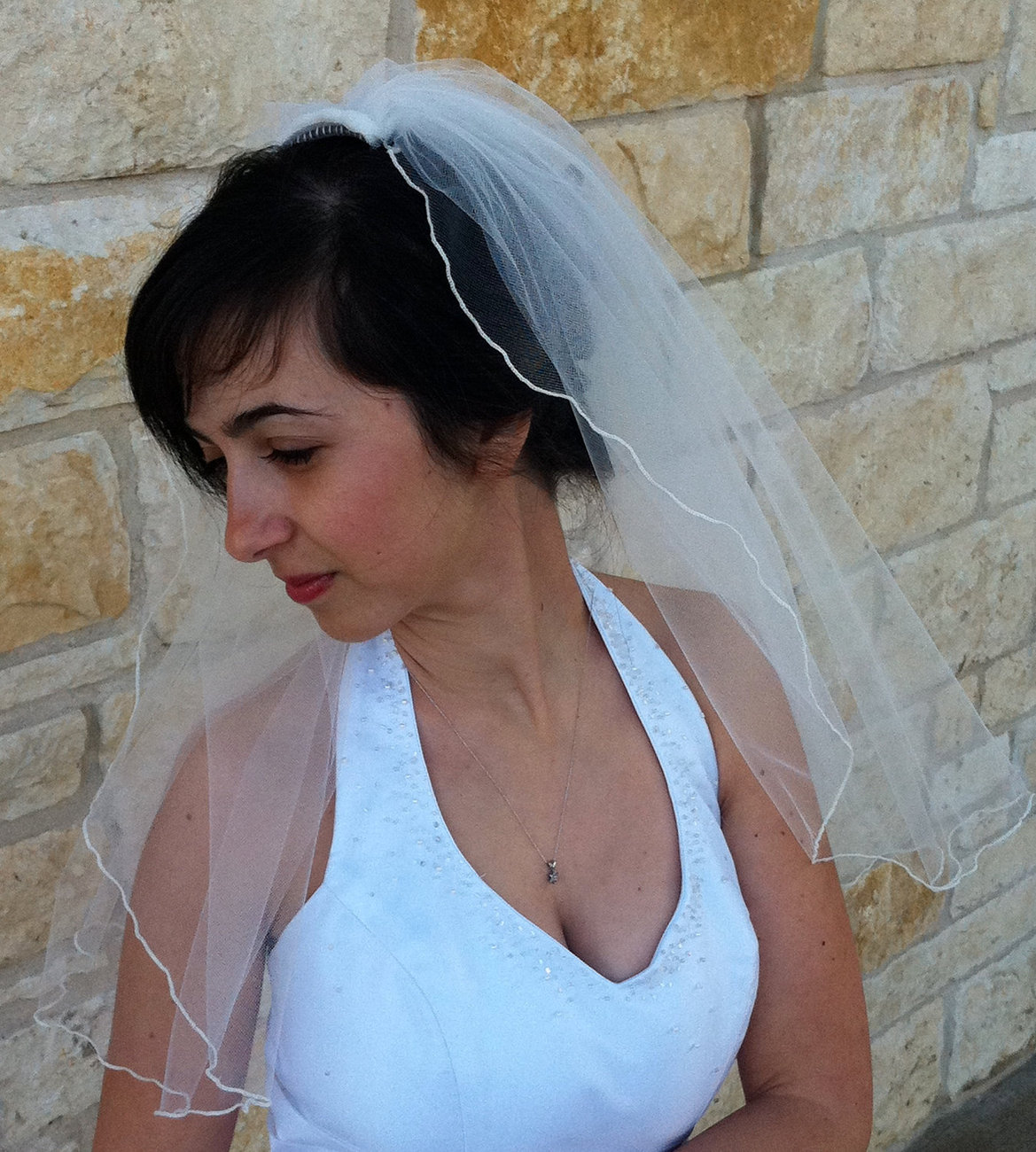 Bridal Veil with Curly Pencil  Edge Elbow Length in white or ivory