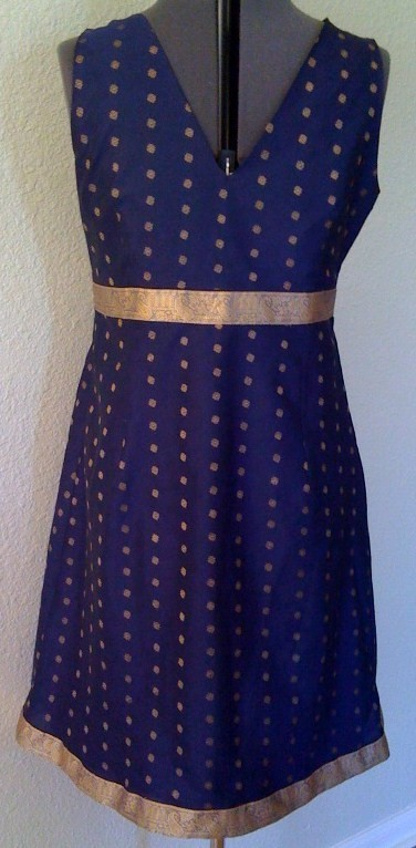 Navy Blue dress with gold trim, business, evening, special occasion, cocktail us