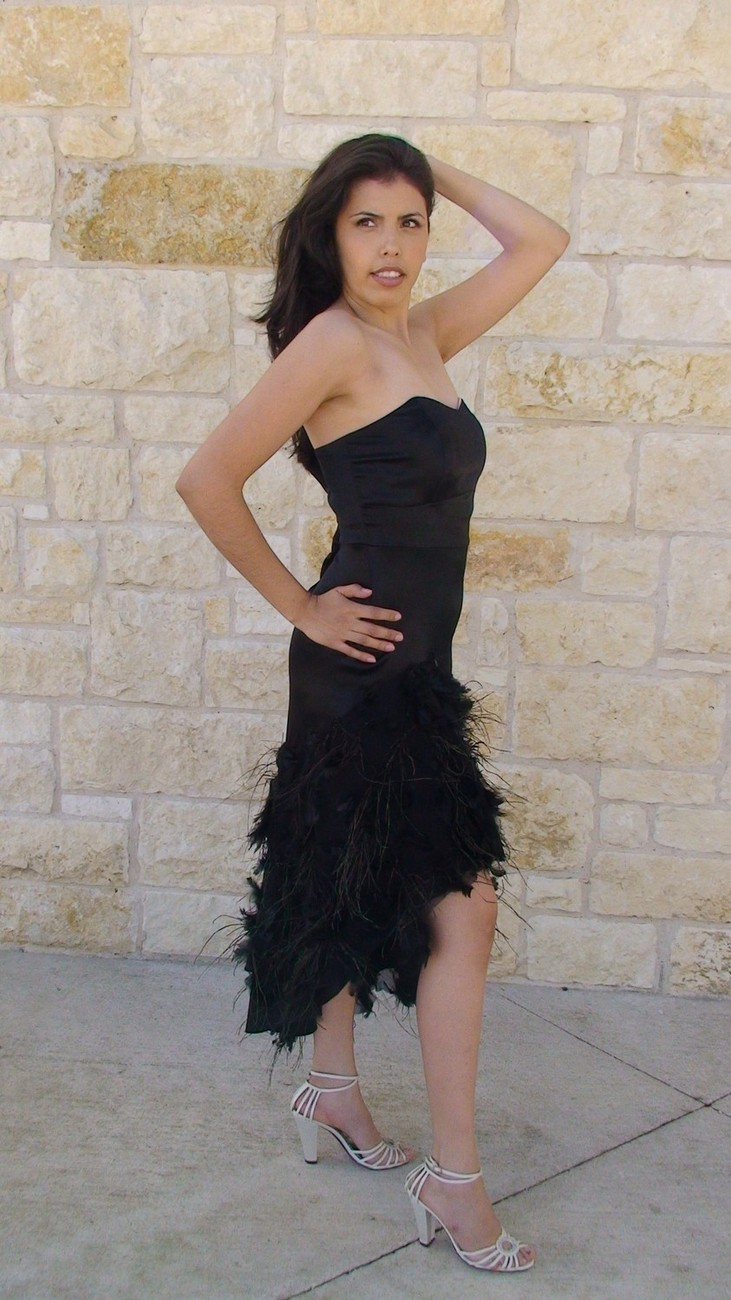 Black Feather Dress Strapless