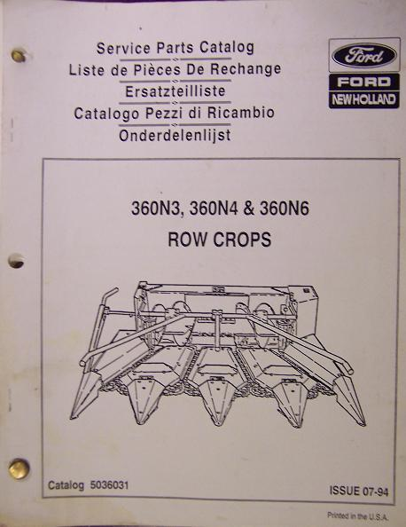 New Holland 360N6, 360N4, 360N3 Row Crop Head for Forage Harvesters Parts Manual