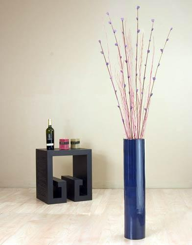 "26"" Blue Bamboo Cylinder Floor Vase Decorative Vases"