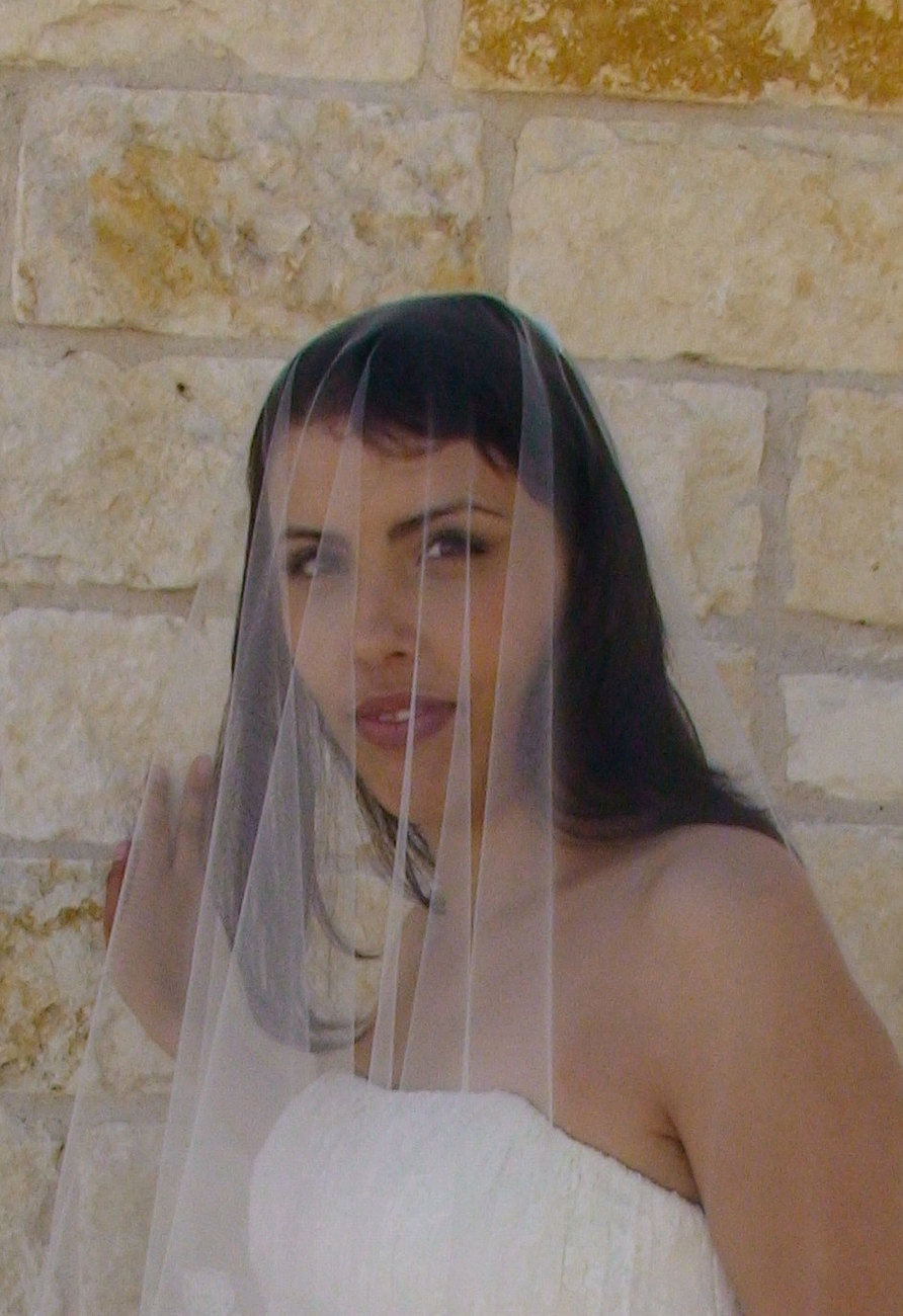 "Lace Bridal Veil -  face blusher , CATHEDRAL LENGHT 132"", in Ivory White or Cham"