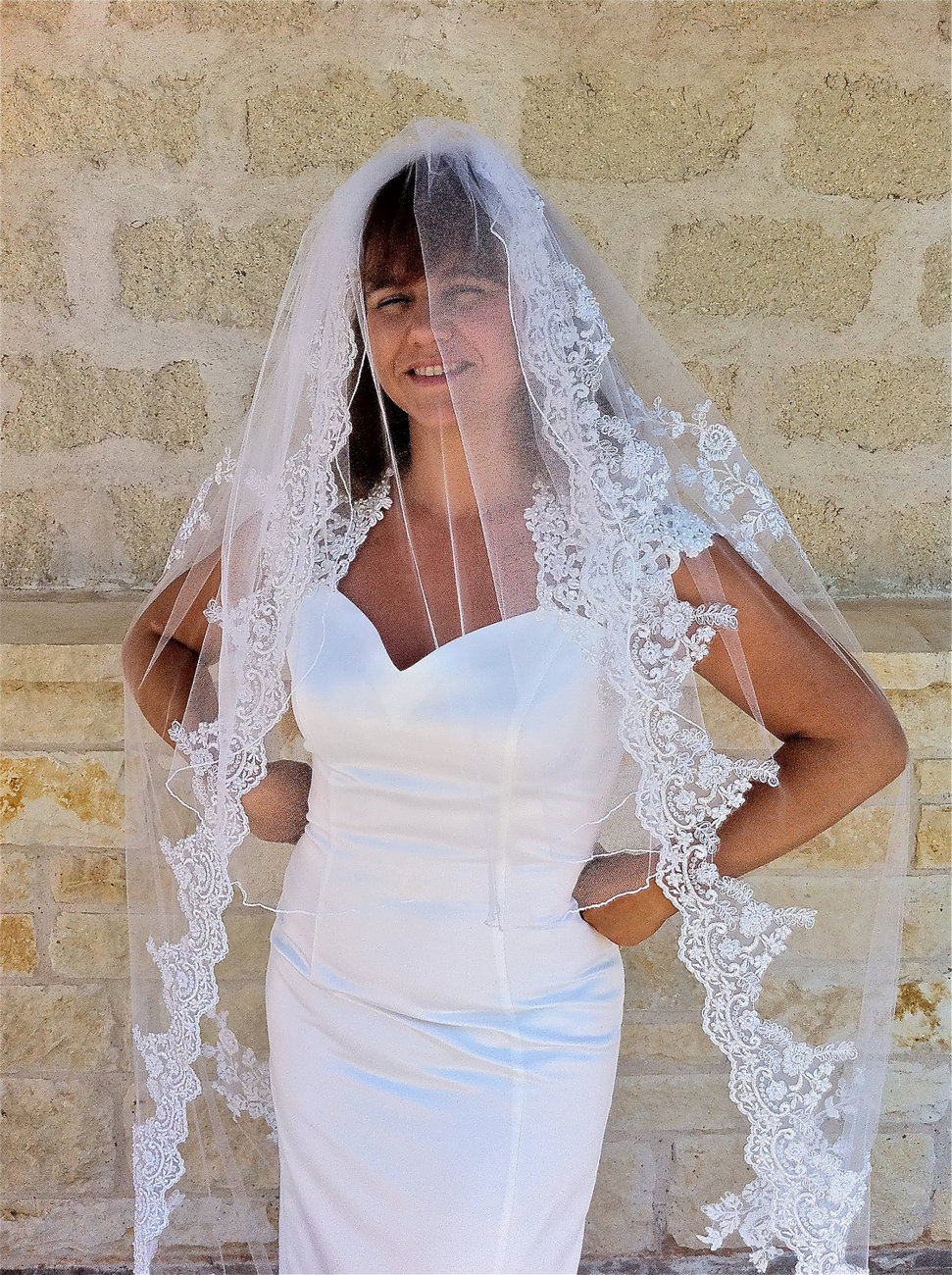 Lace Veil, two tiers cathedral length with flower appliqués and curly edge to