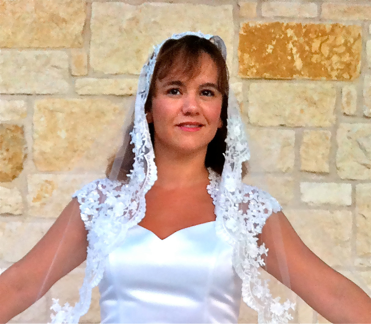 Spanish Veil mantilla,  waltz length, Beaded alencon Lace,  in Ivory or white