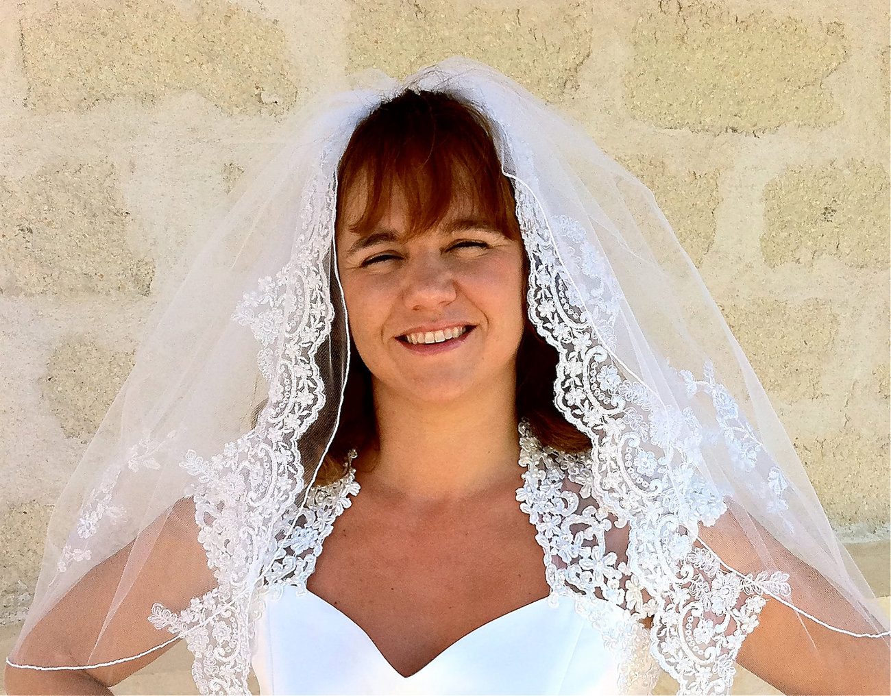 Bridal Veils - 2  Tier lace veil with gorgeous appliqués and curly edge top l