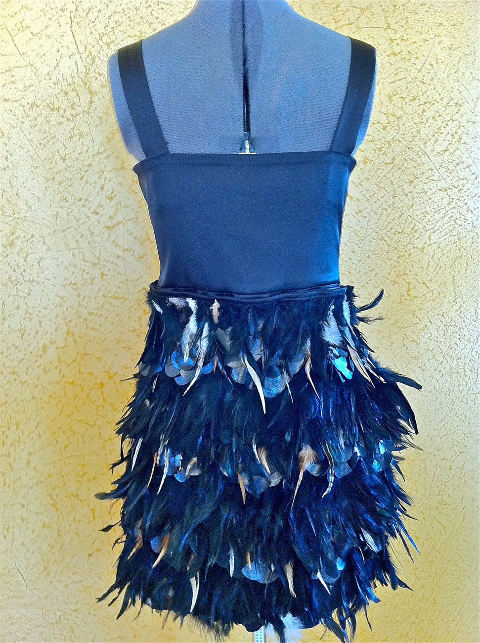 Black Feather Dress for any special occasion, with real hand stitched feathers