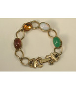Very Small Gemstone Bracelet Green White Amber ... - $16.00