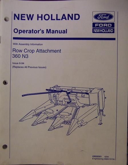 New Holland 360 N3 Row Crop Head for 900 Forage Harvester Operator's Manual