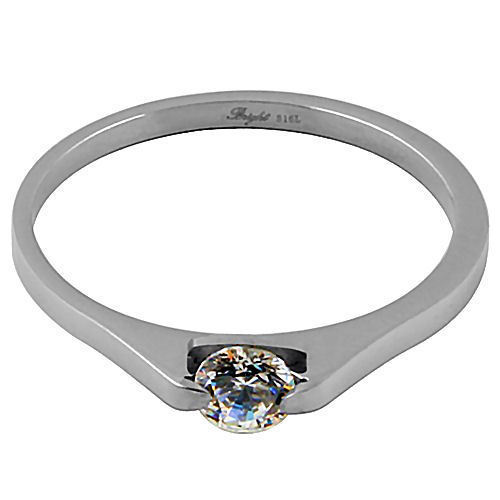 0.5 carat 316L Stainless Steel Promise Band Ring Russian Ice on Fire CZ size 4