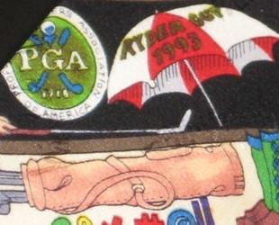 Nicole Miller Neck Tie Golf Themed Ryder Cup PGA Logos Bramble Belfry 1993 Silk