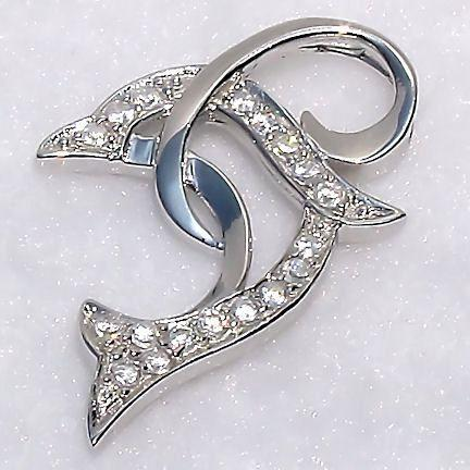 0.5ct Russian CZ Jumping Dolphin Slide Pendant 925 SS