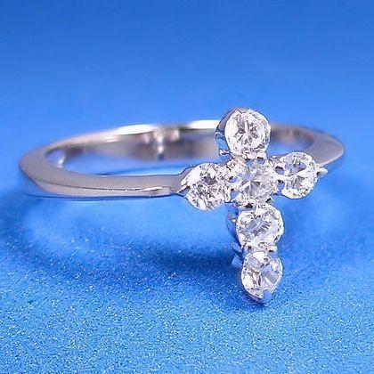 0.6c Russian Ice CZ Cross Symbol 925 Fashion Ring s 6