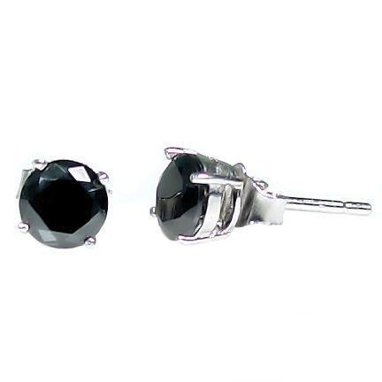 1.0ct, 5mm  Black Ice CZ BASKET Set Earrings 925 Silver