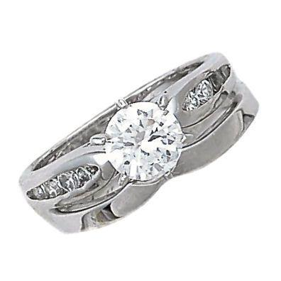 1.24ct Russian Ice CZ V Notched Wedding Ring Set sz 10