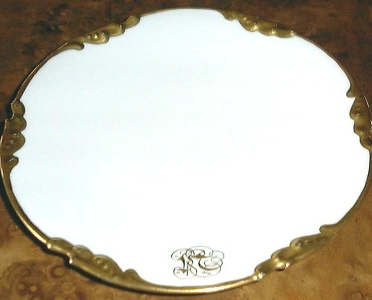 Rare Antique White & Gold Plates, set of 6 by JEAN POUYAT, L